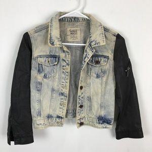 Zara Denim Jacket with Leather Sleeves
